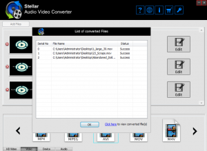 A dialog box showing the successful conversion of added videos