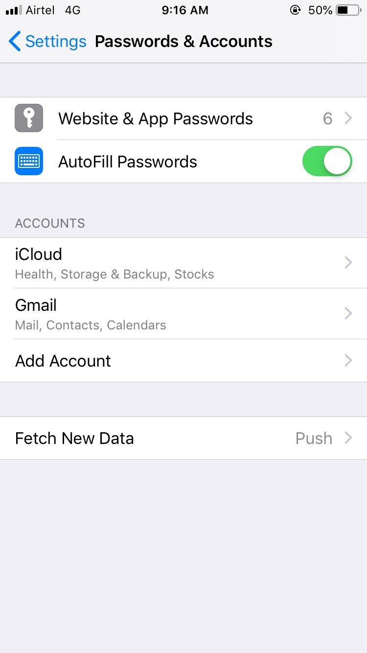 Delete and re-enter mail account on iPhone