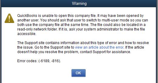 QuickBooks error 6189 message