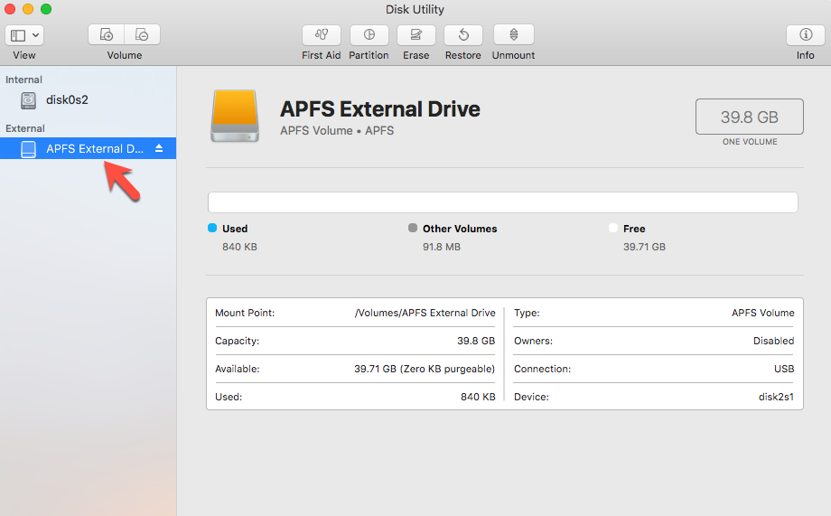 Recover Data from Unmounted APFS External Hard Drive