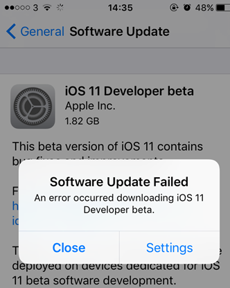 iPhone Software Update Failed