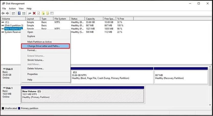 Disk Management - Assign a New drive Letter