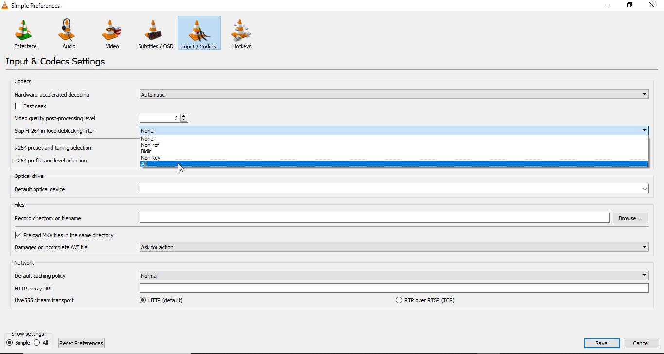 Steps to change 'skip h.264 in-loop deblocking filter'