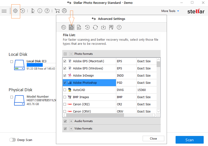 Steps to recover lost Illustrator files with Stellar Photo Recovery