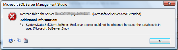SQL Database is in use