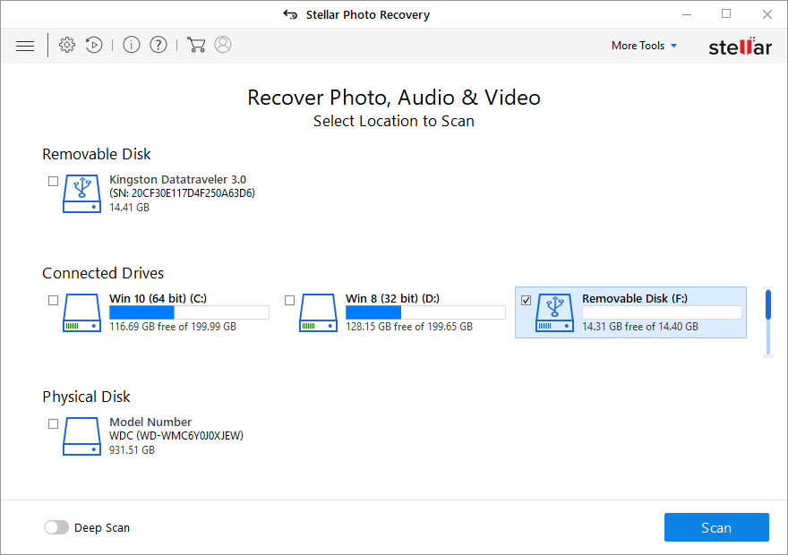 Stellar Photo Recovery - Select the  Recoverable Disk