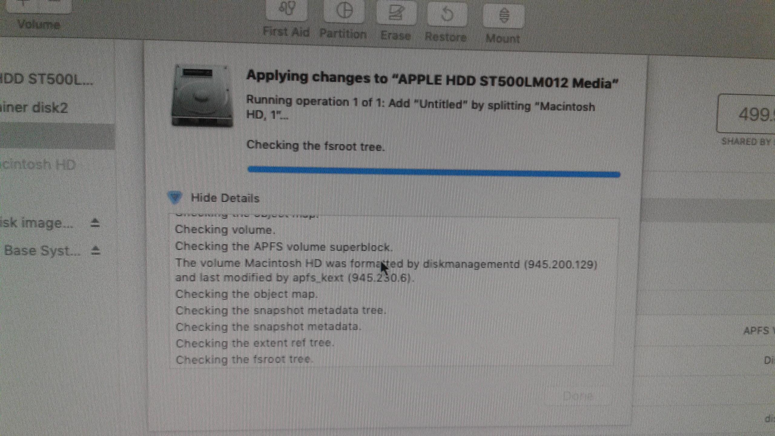 Disk Utility Show Hidden Partitions High Sierra
