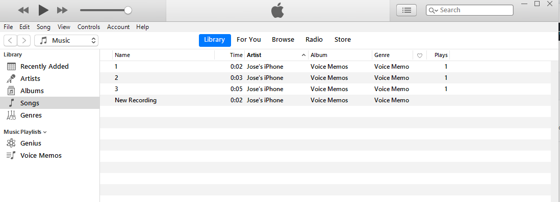 sync voice memos from iTunes back into iPhone