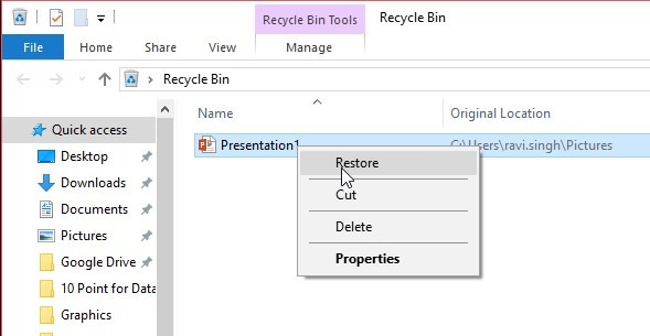 Recover accidentally deleted files from Recycle Bin in Windows 10