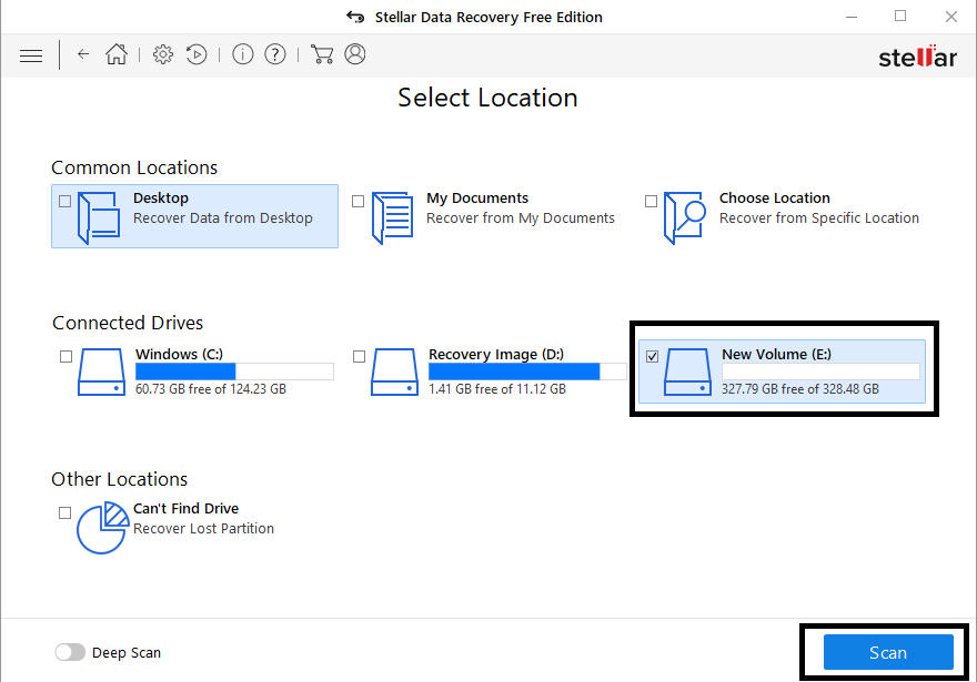select drive for recovery