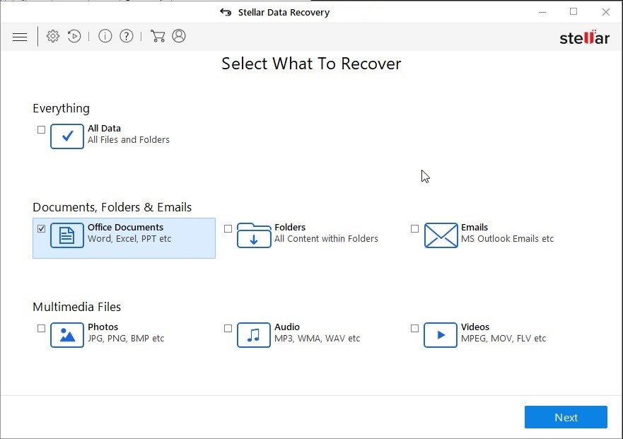 Select Office Documents for Recovery