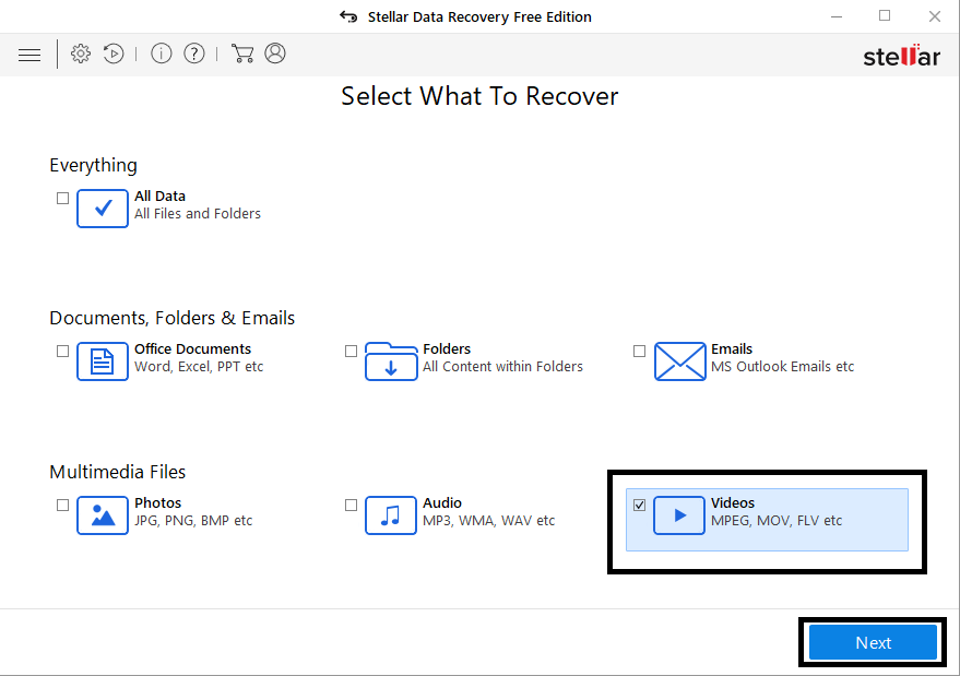 Select What to Recover in Free Data Recovery Software