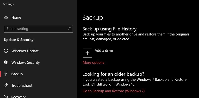 Windows 10 backup option to recover accidentally deleted files