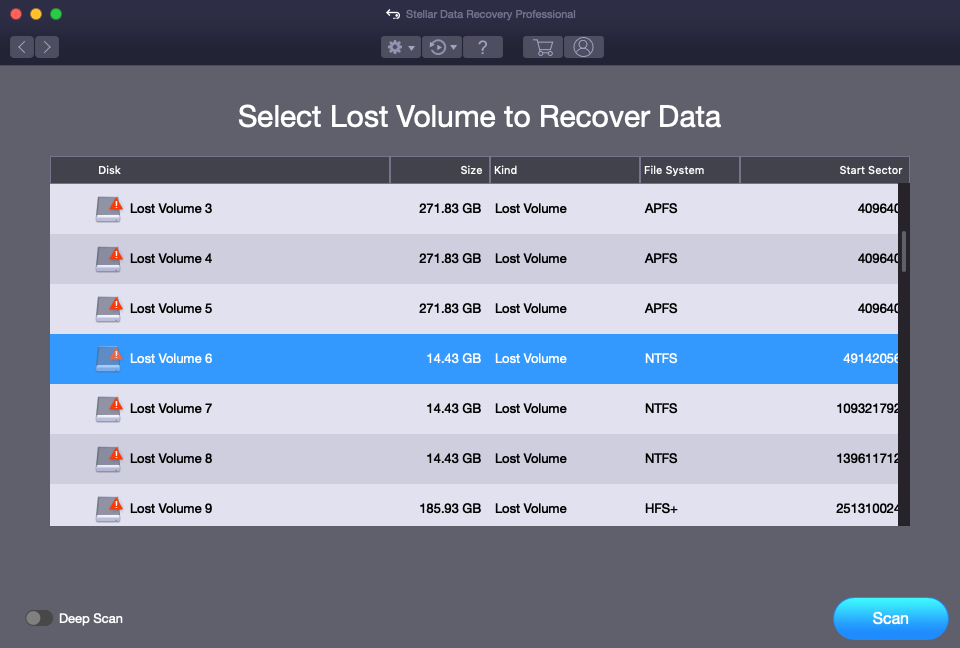Scan drive for NTFS data recovery