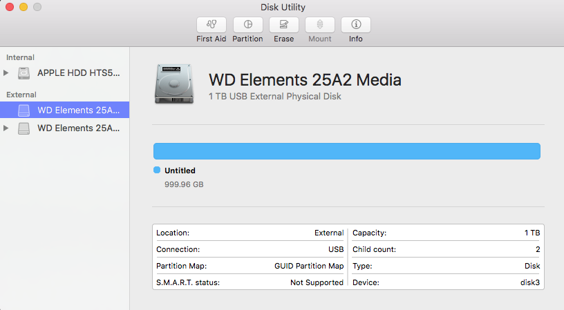 Mount your external drive with Disk Utility