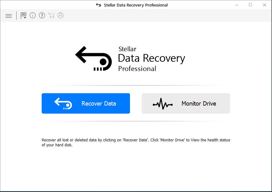 Main Interface of Stellar Data Recovery Professional