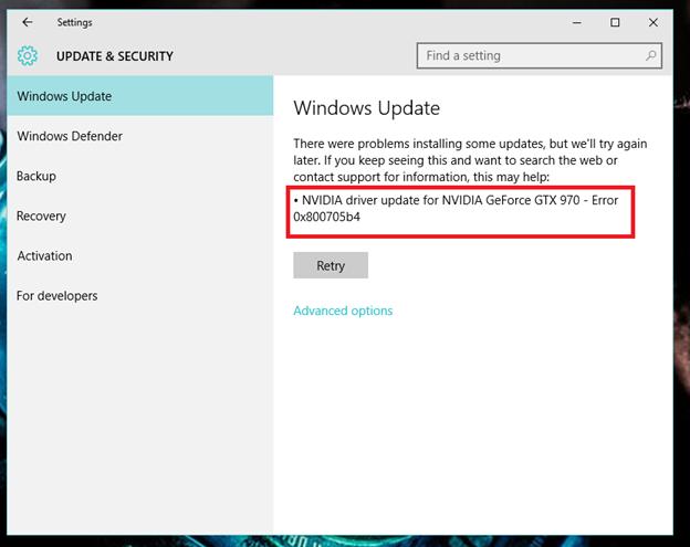 Windows Update error 0x800705b4