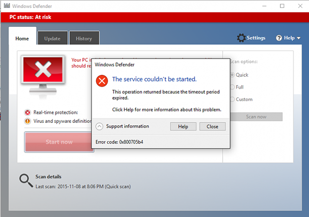 Error 0x800705b4 may appear due to problems with Windows Defender