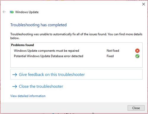 Windows Update troubleshoot repair results