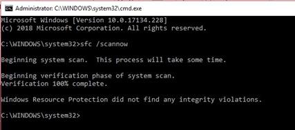 Run SFC scan on Windows to fix error 0x800705b4