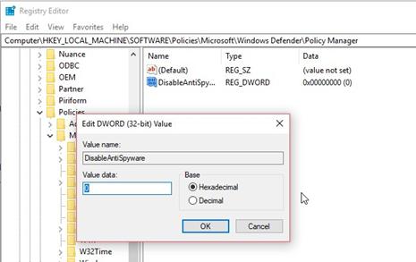 Changing Window defender registry value to fix 0x800705b4 error