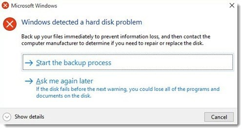 quick fix for the hard disk problem in Windows.
