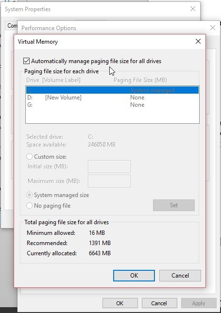 Automate paging file size management for all drives