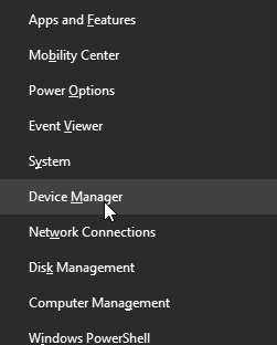 Device Manager options in Windows
