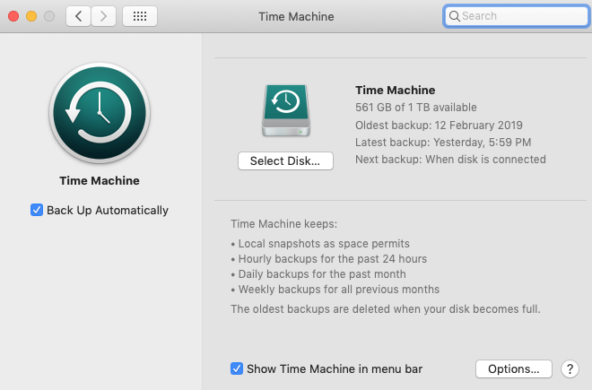 Enable auto backup Time Machine