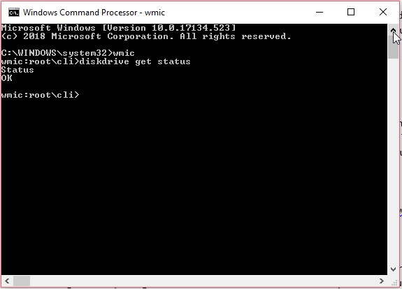 Checking SMART status using Windows Command Prompt