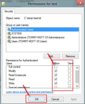 Check file or folder permission