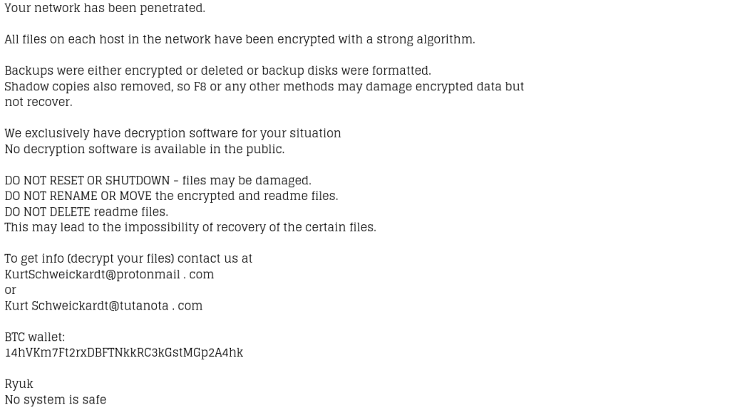 How to Recover Data Encrypted by Ryuk Ransomware