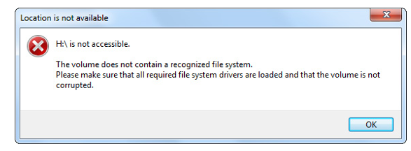 Volume is Missing in Recognized File System