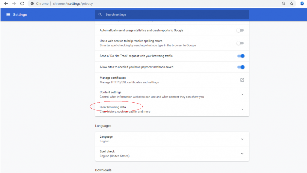 In Google Chrome delete cache and cookies