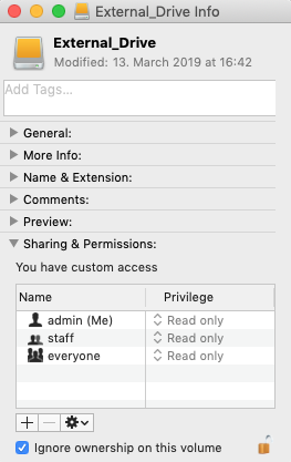 Mac external drive read only