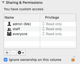 Mac external drive - ignore ownership