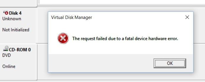 request failed due to fatal device hardware error