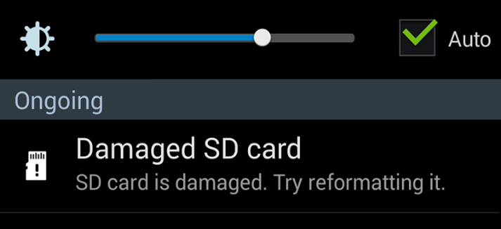 messages ask to format SD card