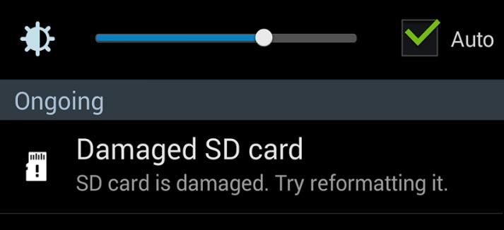 SD card is Damaged Error