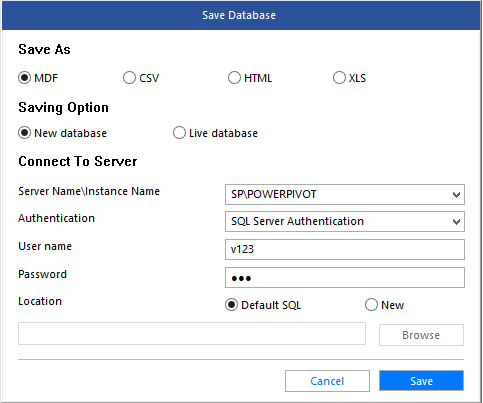 save recovered database to new database