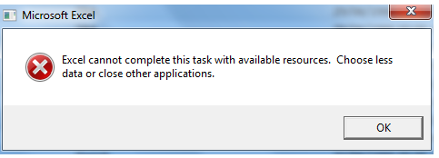 Excel repair resources error