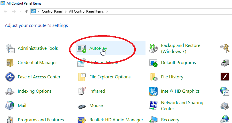 Select AutoPlay  on Windows 7 and 8 PC users