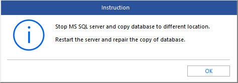 Instruction to use SQL repair software