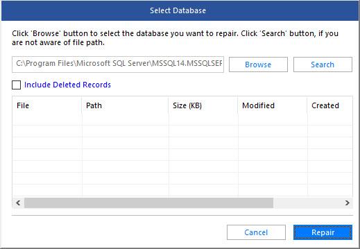 select corrupt MDF file