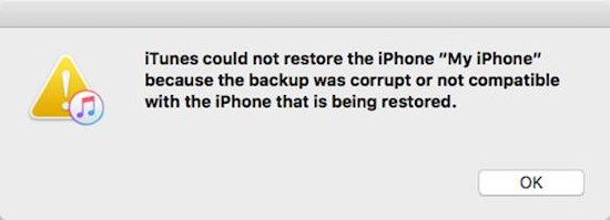 unable to restore iPhone backup