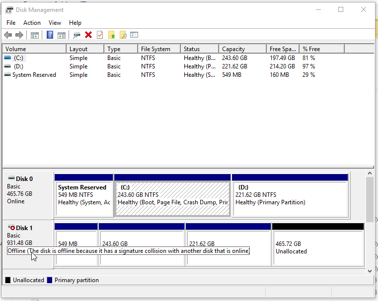 Disk 1 is cloned Hard Drive connected via USB 3.0 Port (Enclosed in an HDD Enclosure)