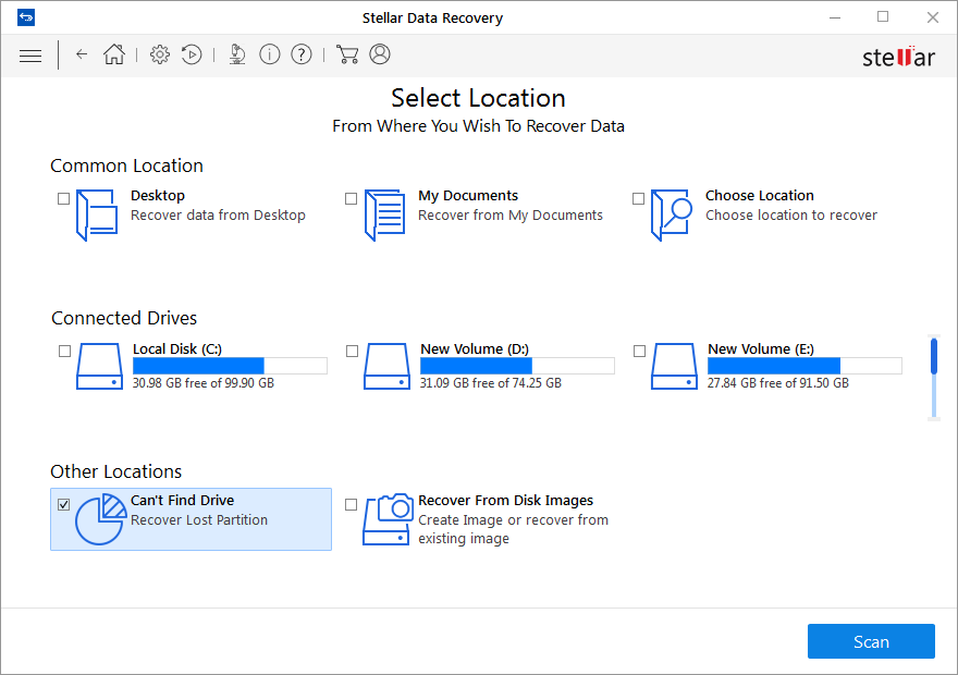 Select Can't Find Drive for Recovery of Deleted Partition On USB Drive