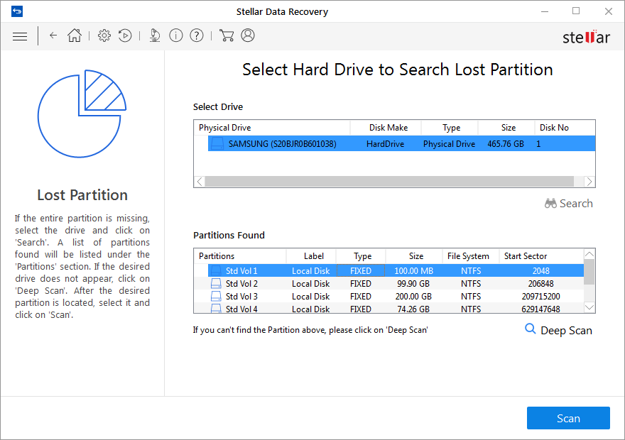 Choose a partition for a scan from Partitions Found list