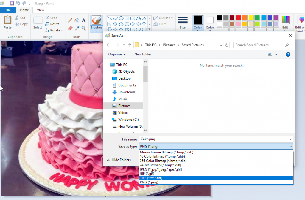 Choose to 'Save As' your JPEG image file in Paint