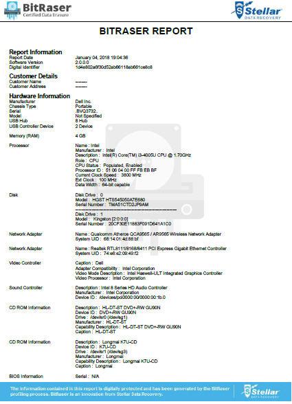 Certificate of Eraser/Data Eraser Report